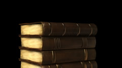 Stack of books in library Stock Footage