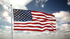 USA flag pole clouds time lapse Stock Footage