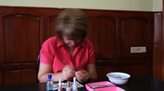 Time lapse. woman makes of french manicure. slider shot. 1. Stock Footage