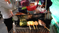 Grilled Fish, BBQ,Thai Food, Colourful Street Food Life in Bangkok, Thailand Stock Footage