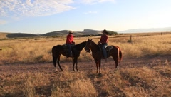 3 Cowboys and their Horses  (HD) co Stock Footage
