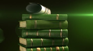 Stock Video Footage of Green books stack with diploma