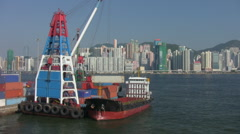 Container Ship Loading, Hong Kong - stock footage