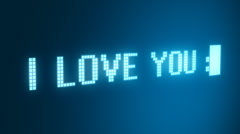 I love you concept on digital screen Stock Footage