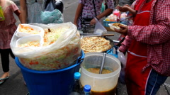 Woman Selling Thai Food, Colourful Street Food Life in Bangkok, Thailand Stock Footage