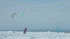 Snowkiting slow motion 100 fps video Stock Footage