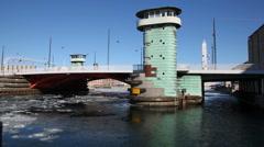 Waterbus under a bridge in Copenhagen Stock Footage