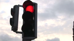 CU Traffic Light Switches From Red To Green Stock Footage