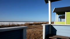 Beach Cabins in Sweden Stock Footage