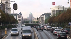 Brussels Urban Traffic And Capitol-Pond JPEG Export Stock Footage