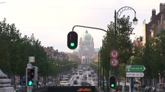 Brussels Traffic In Front Of Capitol-Pond JPEG Export Stock Footage