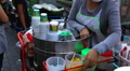Woman Selling Ice Cream. Colourful Street Food Life in Bangkok, Thailand Footage