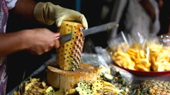 How To Cut A Pineapple, Thai, Colourful Street Food Life in Bangkok, Thailand Stock Footage