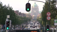 Brussels Traffic In Front Of Capitol 2-Pond JPEG Export Stock Footage
