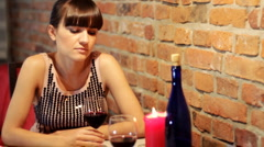 Stock Video Footage of Sad lonely woman in restaurand drinking wine