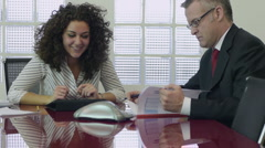 Teamwork with businessman and assistant Stock Footage