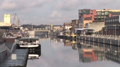 Brussels Canal With Boats 4-Pond JPEG Export - stock footage