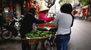 Stock Video Footage of Selling Fruits and Vegetables, Colourful Street Food Life in Hanoi, Vietnam
