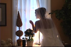 Bride At Window - stock footage