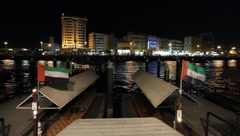 Dubai Creek By Night Stock Footage