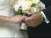 Bride and Groom Hands at Altar Stock Footage