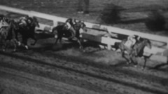 Horses race down the homestretch, vintage Stock Footage