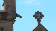 Stock Video Footage of Spooky gargoyle and cross