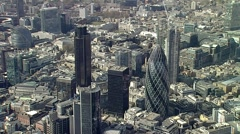 London Ghuerkin (30 St Mary Axe) Aerial Shot Stock Footage