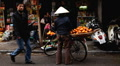 Selling Fruits and Vegetables, Colourful Street Food Life in Hanoi, Vietnam Footage