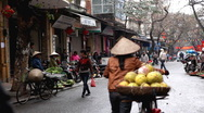 Selling Fruits and Vegetables, Colourful Street Food Life in Hanoi, Vietnam Stock Footage