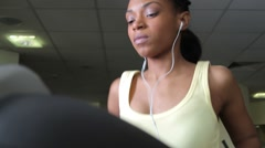 Female running on treadmills, cardio workout exercise in gym Stock Footage