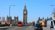 Stock Video Footage of Big Ben & Westminster Bridge