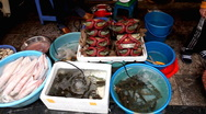 Stock Video Footage of Fish and Seafood Market, Colourful Street Food Life in Hanoi, Vietnam