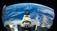 Stock Video Footage of Space Shuttle Seen from International Space Station with Earth