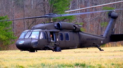 Black hawk helicopter prepares for takeoff 02 Stock Footage