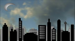 Timelapse clouds against high res cityscape scene Stock Footage