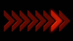 Shiny red arrow,emergency exit sign,game or software process.particle,material, Stock Footage