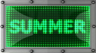 Stock Video Footage of summer announcement on the LED display