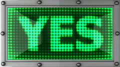 Yes announcement on the LED display Stock Footage