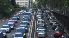 Traffic Gridlock On Freeway Stock Footage