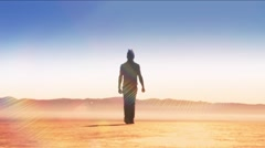 Dry Lake-walk to camera2 Stock Footage
