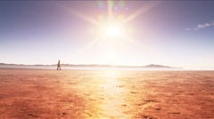 Dry Lake-walk across horozon Stock Footage