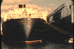 Archive HMS Queen Mary tied up in new york harbor circa 1955-3 8mm - stock footage