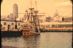 Archive old sailing ship tied up in new york harbor circa 1955 8mm - stock footage