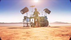 Dry Lake-Drummer med1 Stock Footage
