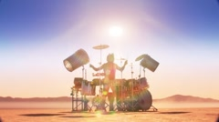 Dry Lake-Drummer med Stock Footage