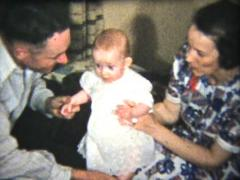 Proud Parents With Their Baby Girl (1939 Vintage 8mm) - stock footage