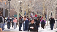 Busy college campus Stock Footage