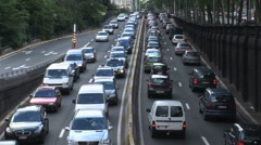 Heavy Traffic Gridlock On Freeway Stock Footage