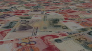 Loopable Chinese Yuan scrolling animation Stock Footage